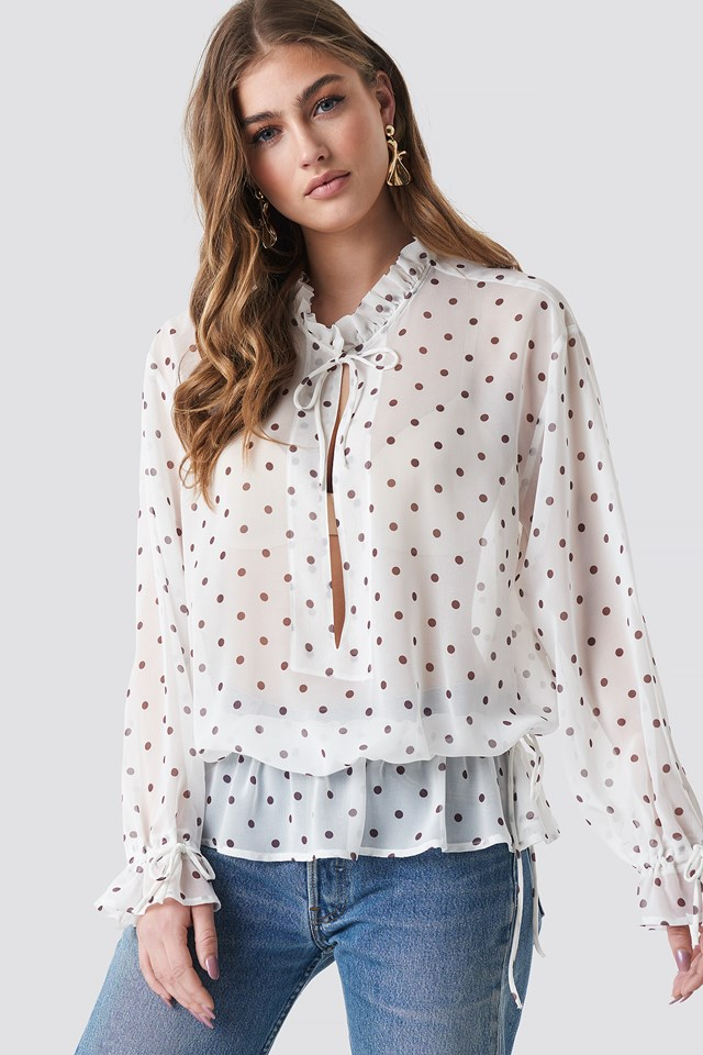 Polka Dot Tie Detail Blouse White/Black