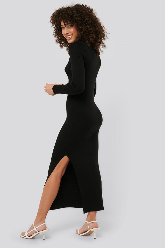 Polo Collar Knit Maxi Dress Black