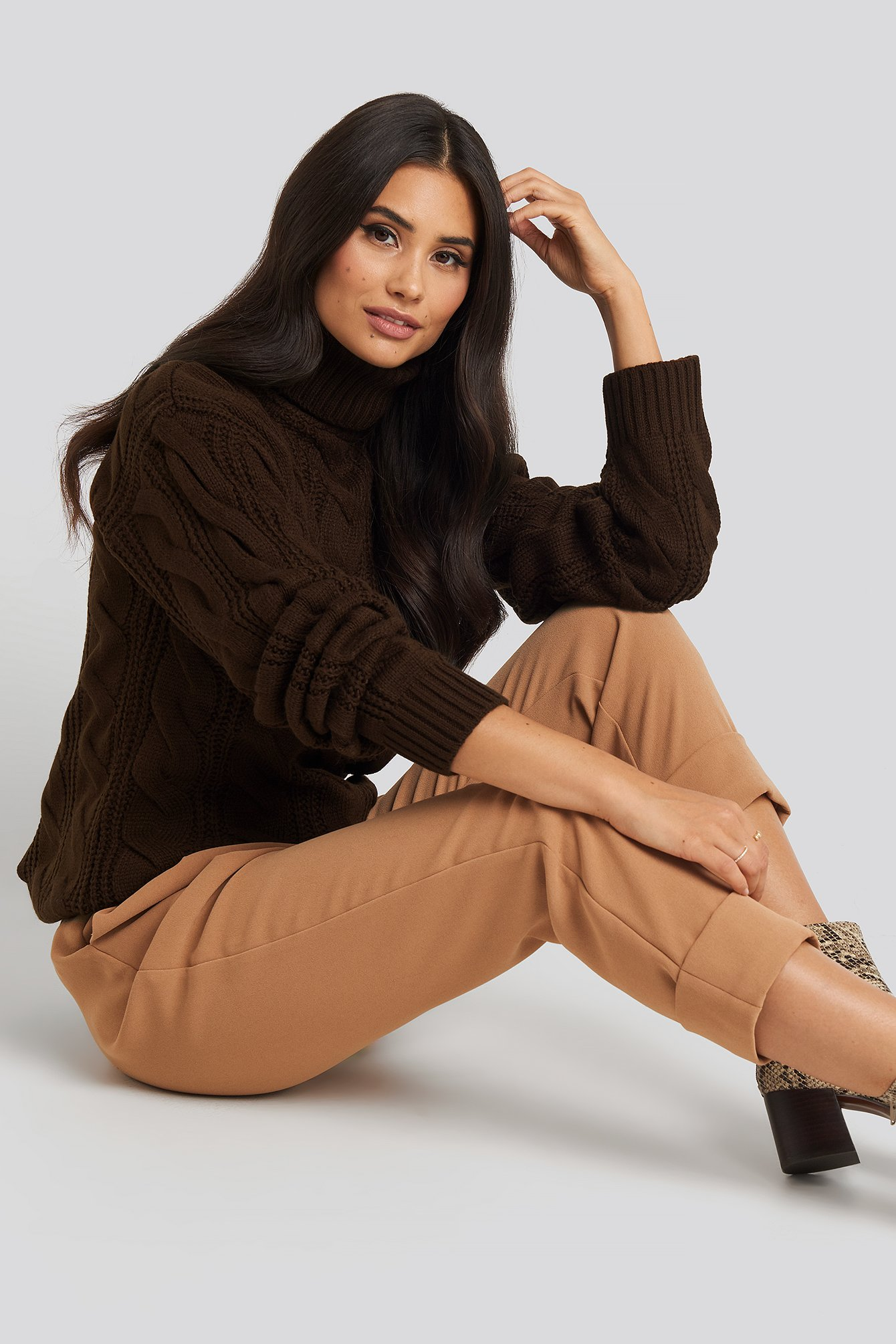Brown Polo Neck Cable Knitted Sweater