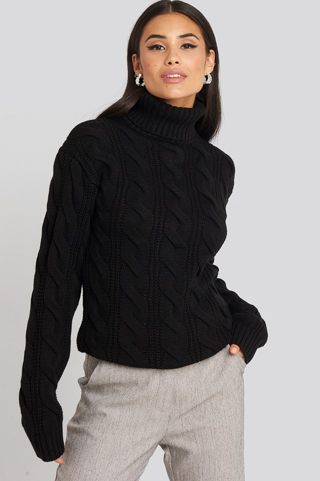 Polo Neck Cable Knitted Sweater Black