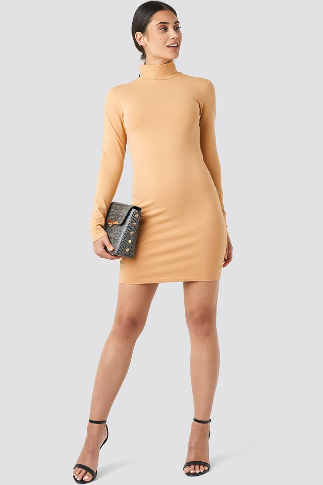 Polo Neck Dress Beige