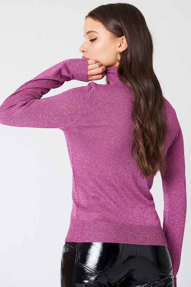 Polo Neck Glittery Sweater Pink