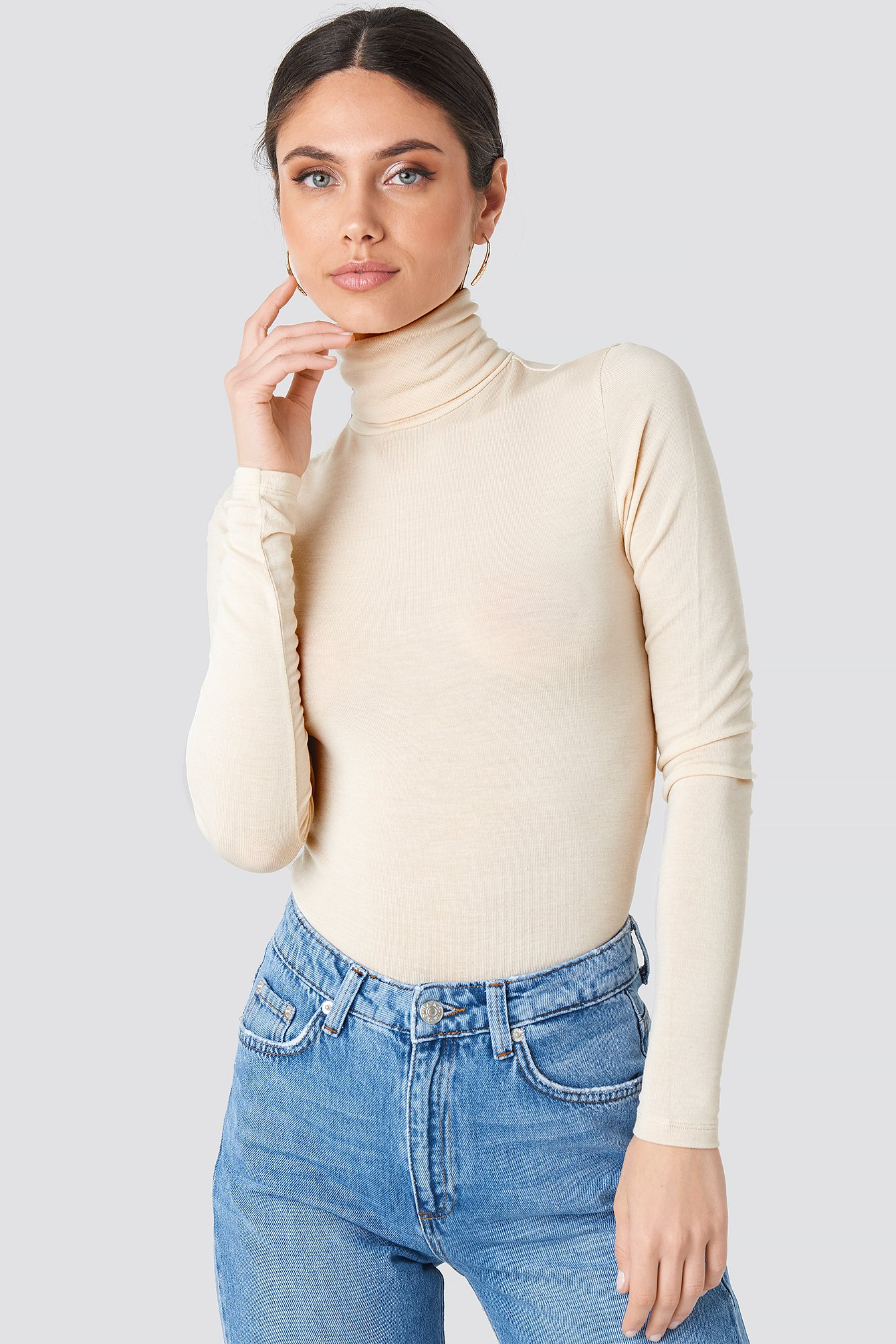 na-kd trend -  Polo Neck Long Sleeve Top - Beige