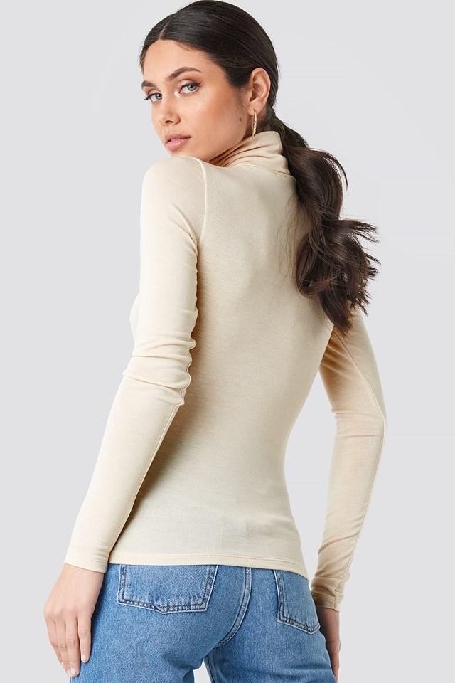 Polo Neck Long Sleeve Top Beige