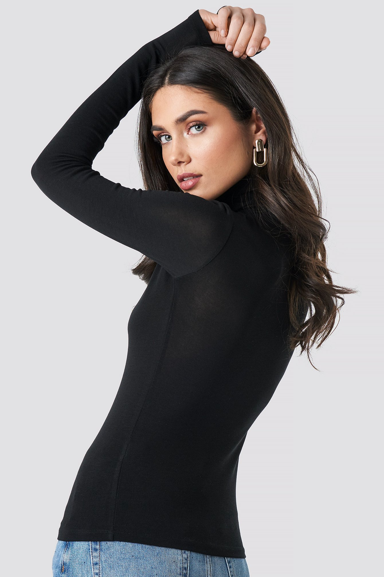 Black Polo Neck Long Sleeve Top