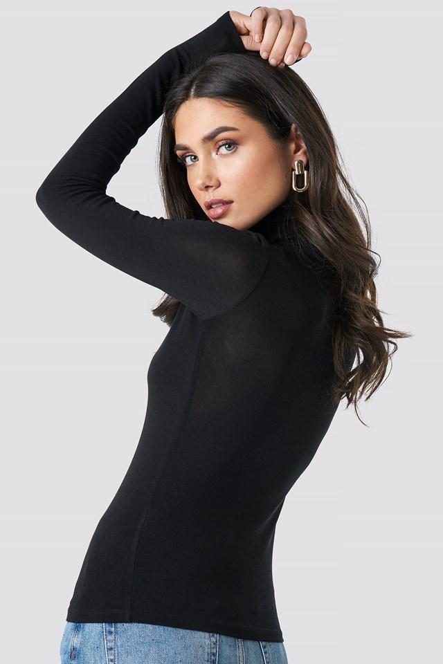 Polo Neck Long Sleeve Top Black