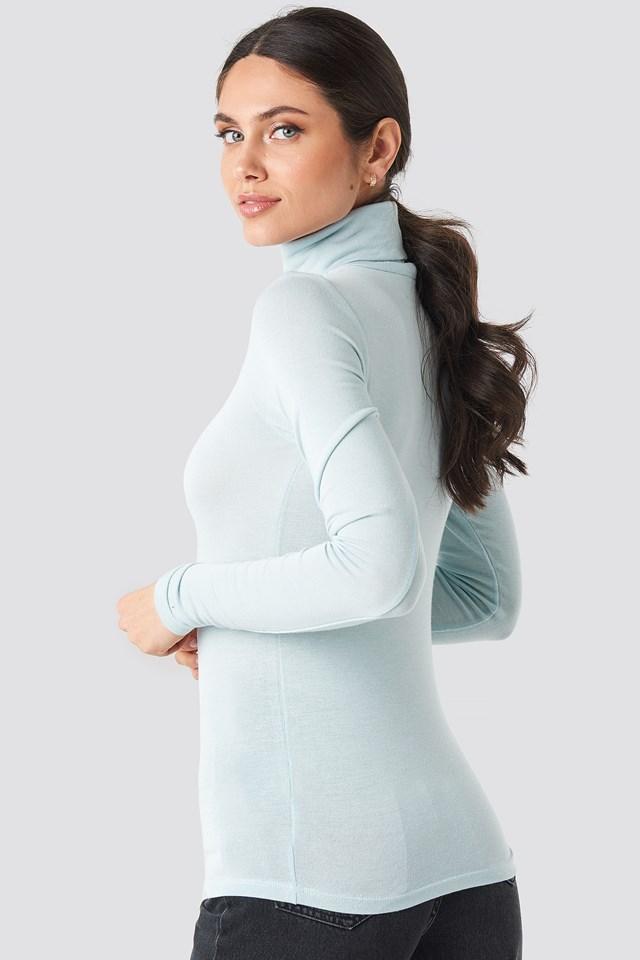 Polo Neck Long Sleeve Top Blue