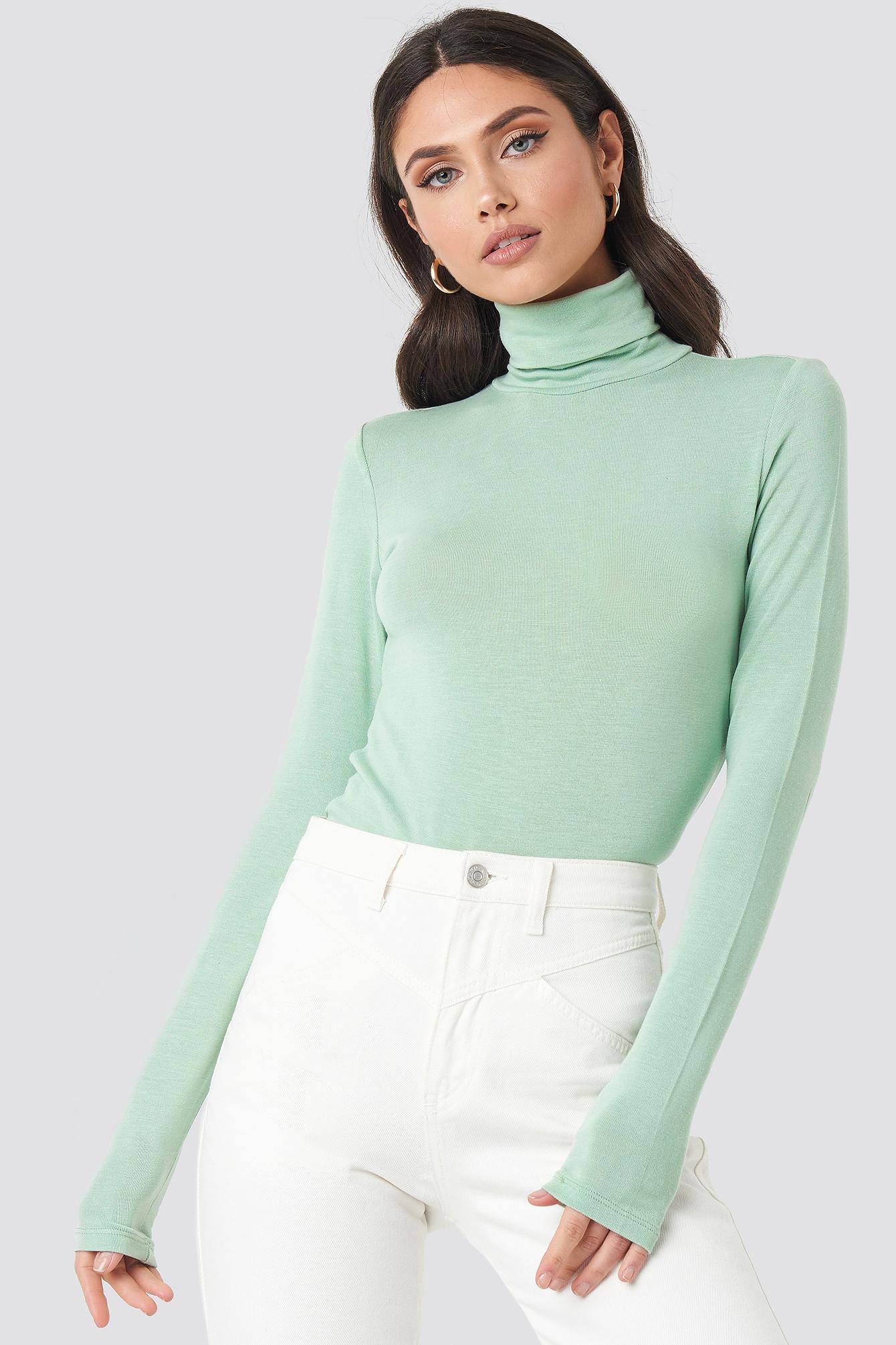 na-kd trend -  Polo Neck Long Sleeve Top - Green