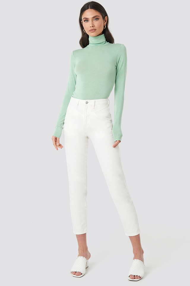 Polo Neck Long Sleeve Top Green