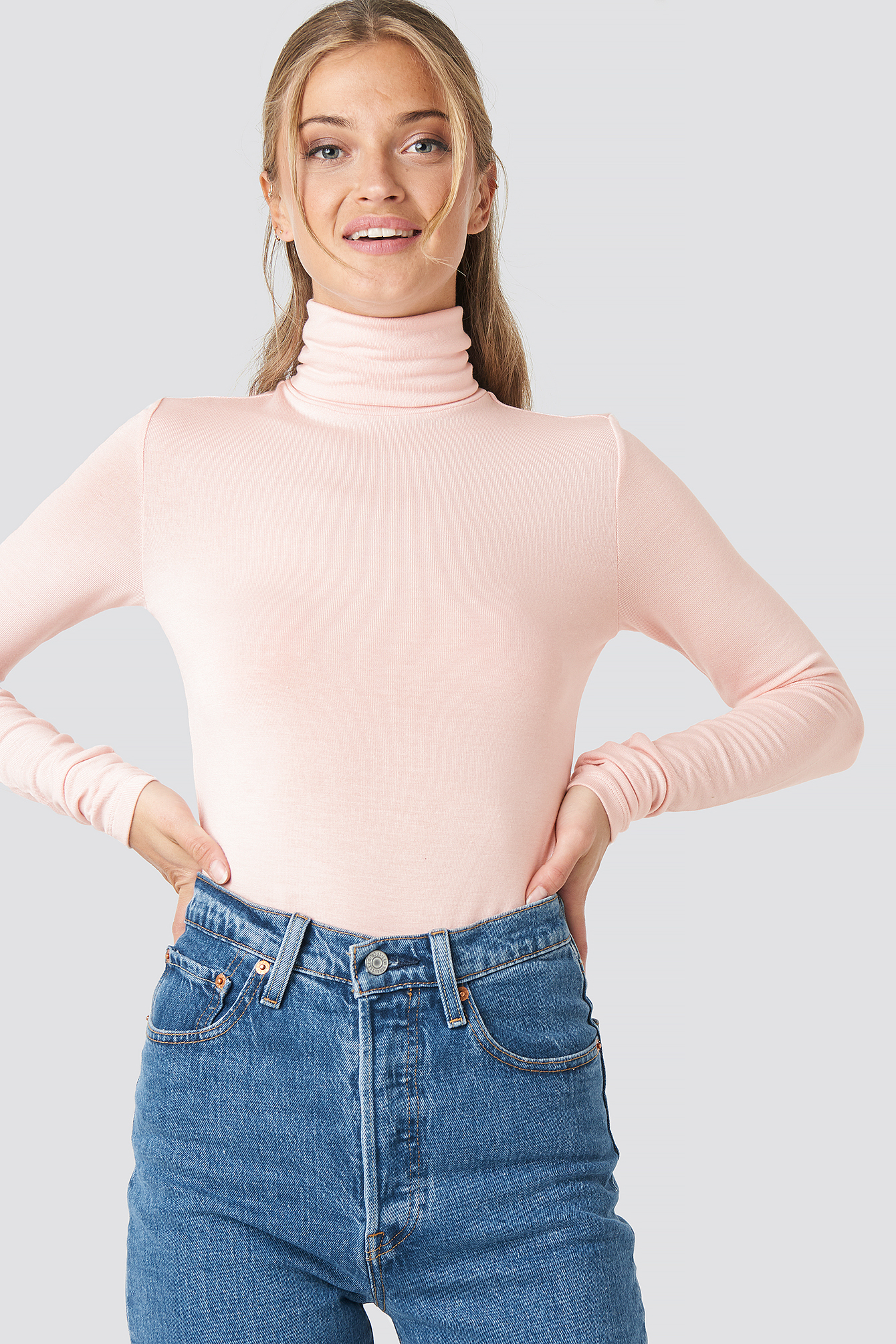 na-kd trend -  Polo Neck Long Sleeve Top - Pink