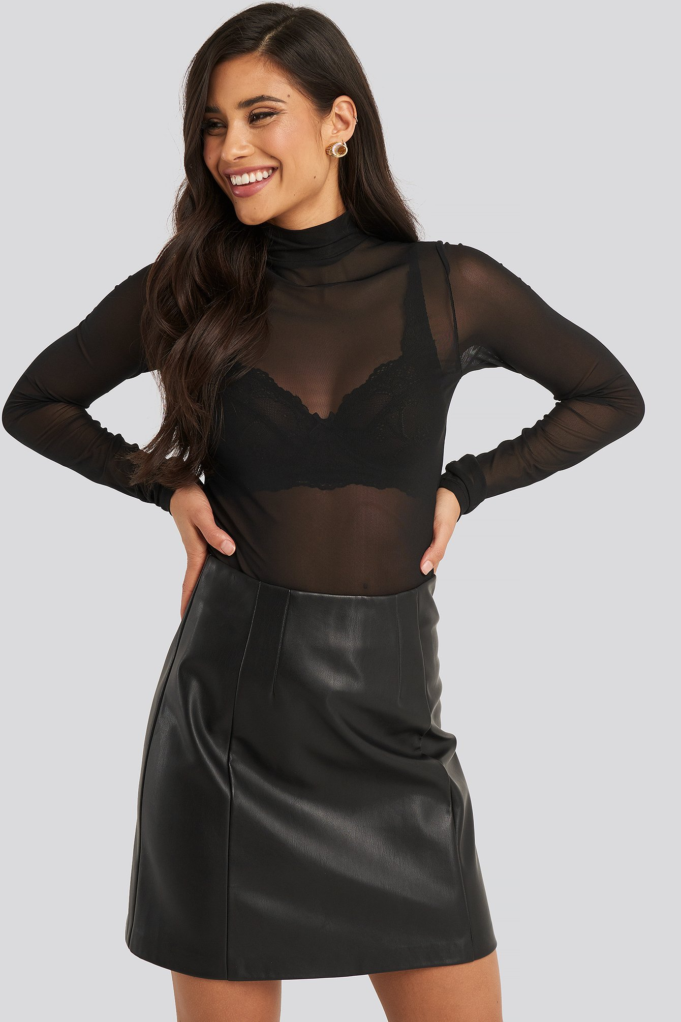 Black Polo Neck Mesh Top