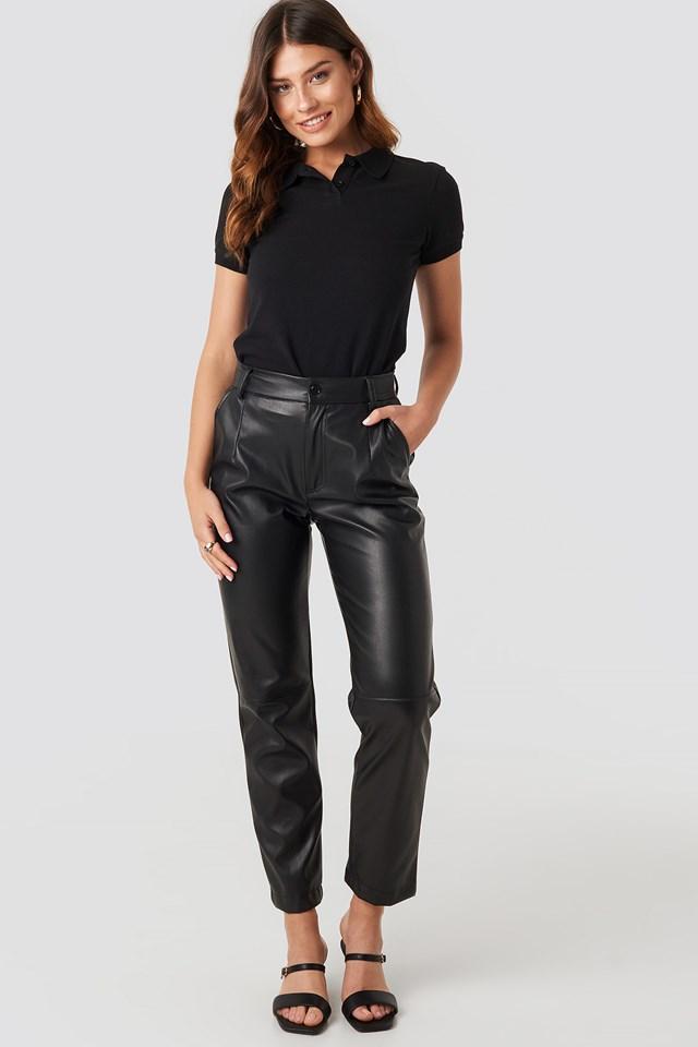 Polo Neck T-shirt Deep Black
