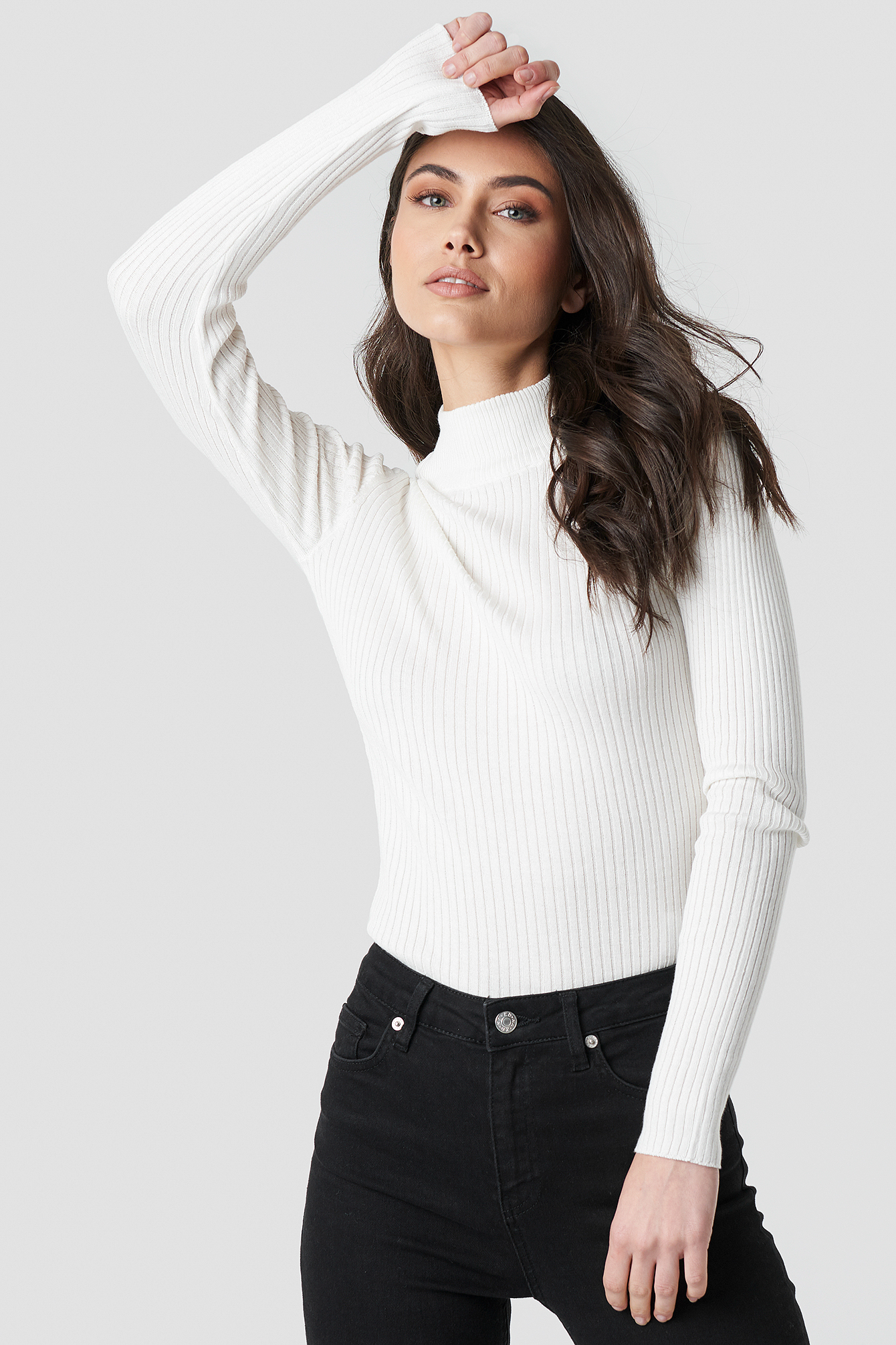 na-kd -  Polo Ribbed Knitted Sweater - White
