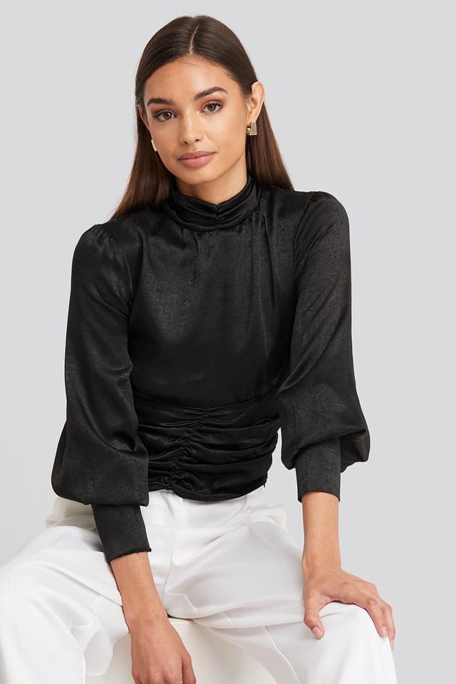 Polo Wide Cuff Blouse Black