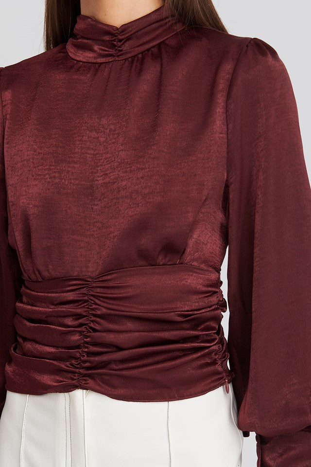 Polo Wide Cuff Blouse Burgundy