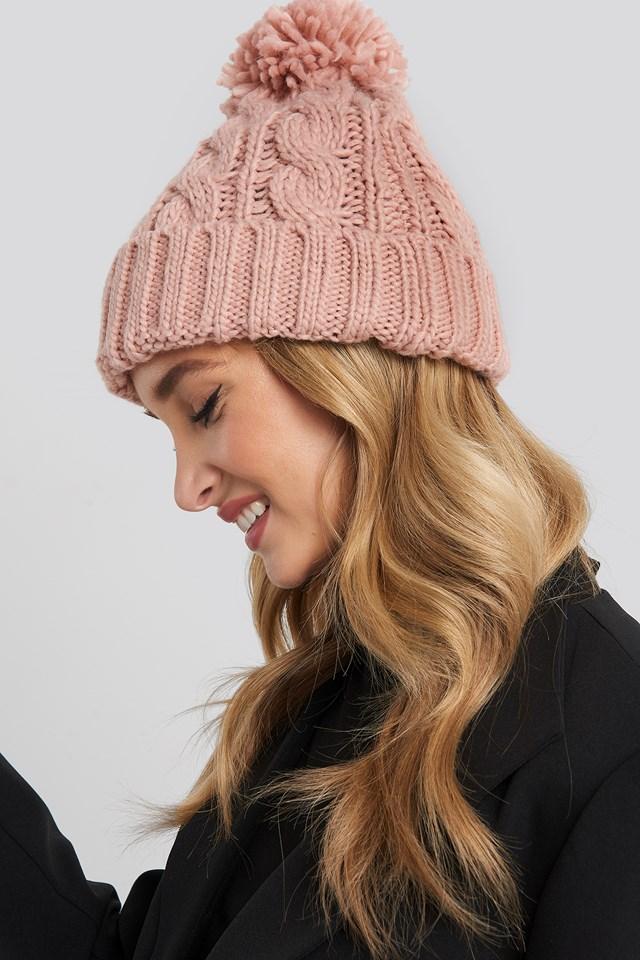 Pom Pom Cableknit Beanie Pink Peach
