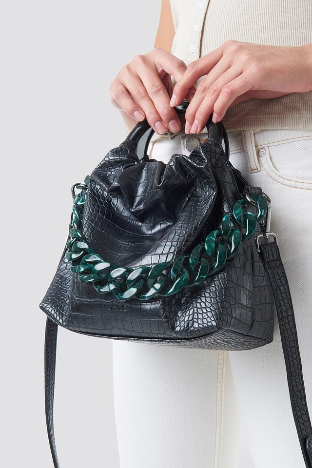 Pop Chain Bucket Bag Black