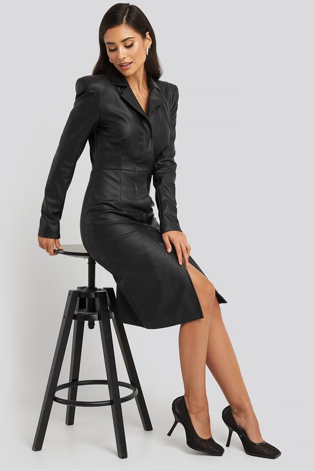 Power Shoulder PU Dress Black
