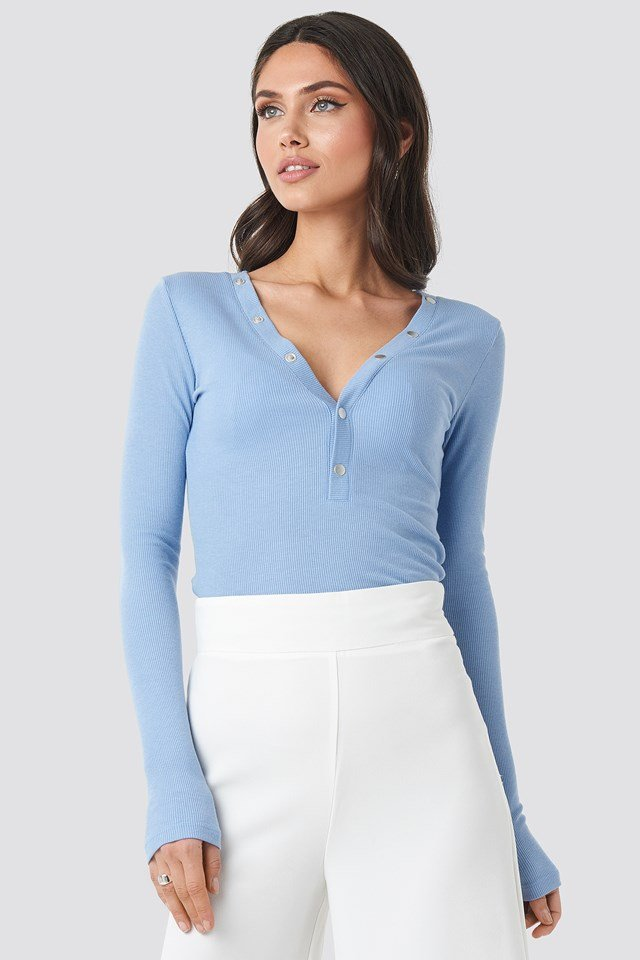 Press Button Rib Top Dusty Light blue
