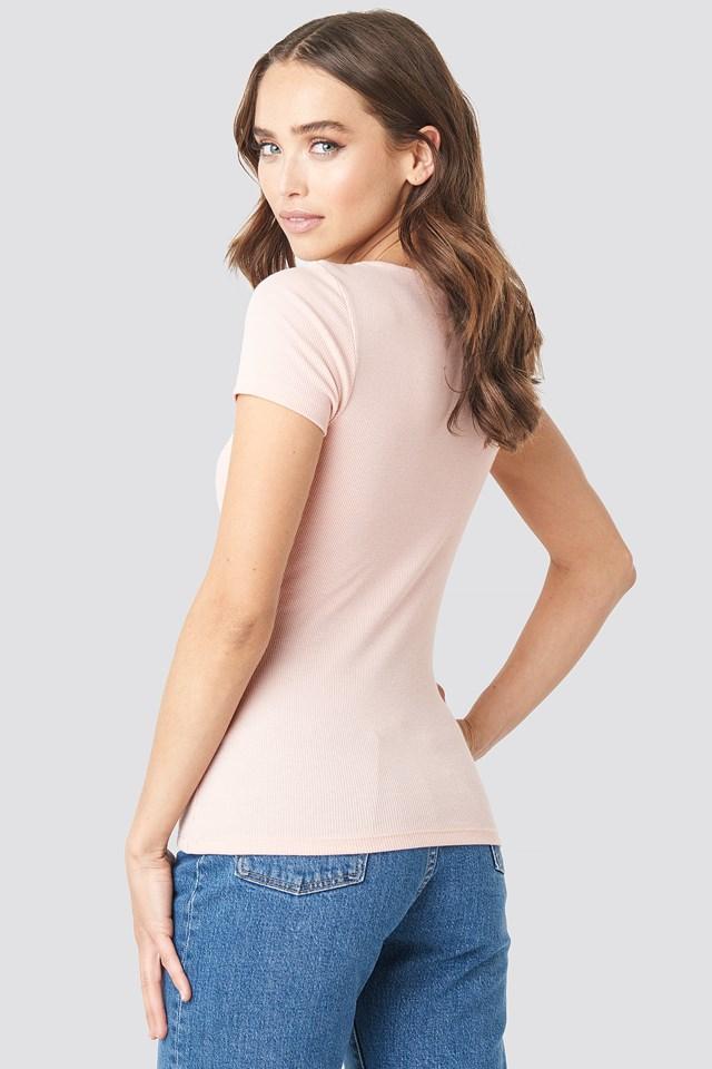 Press Button Short Sleeve Top Dusty Light Pink