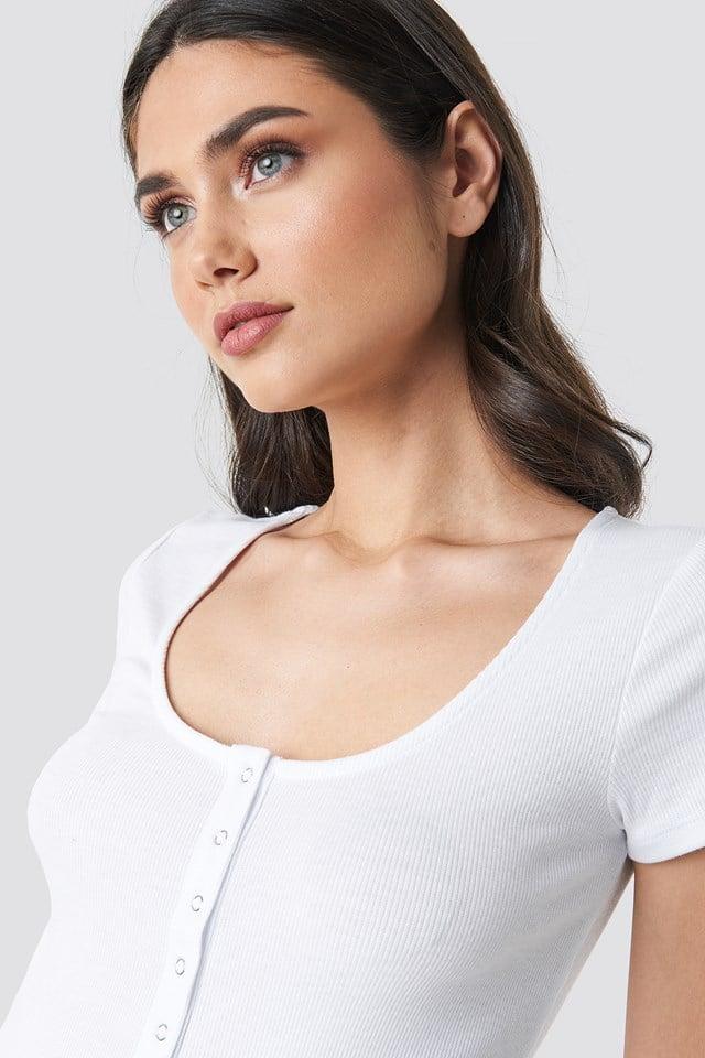 Press Button Short Sleeve Top White