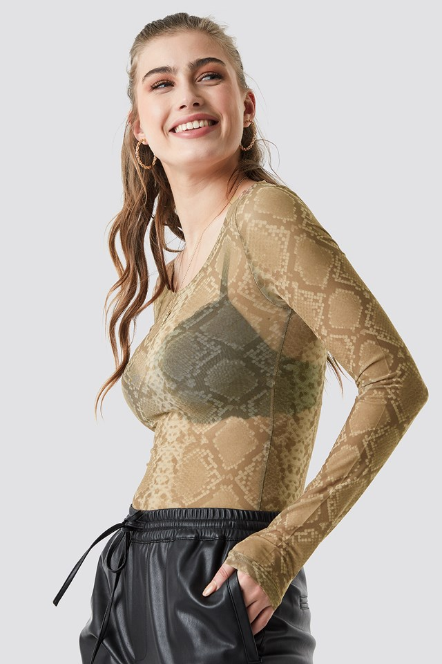 Printed Deep Round Neck Mesh Top NA-KD Trend