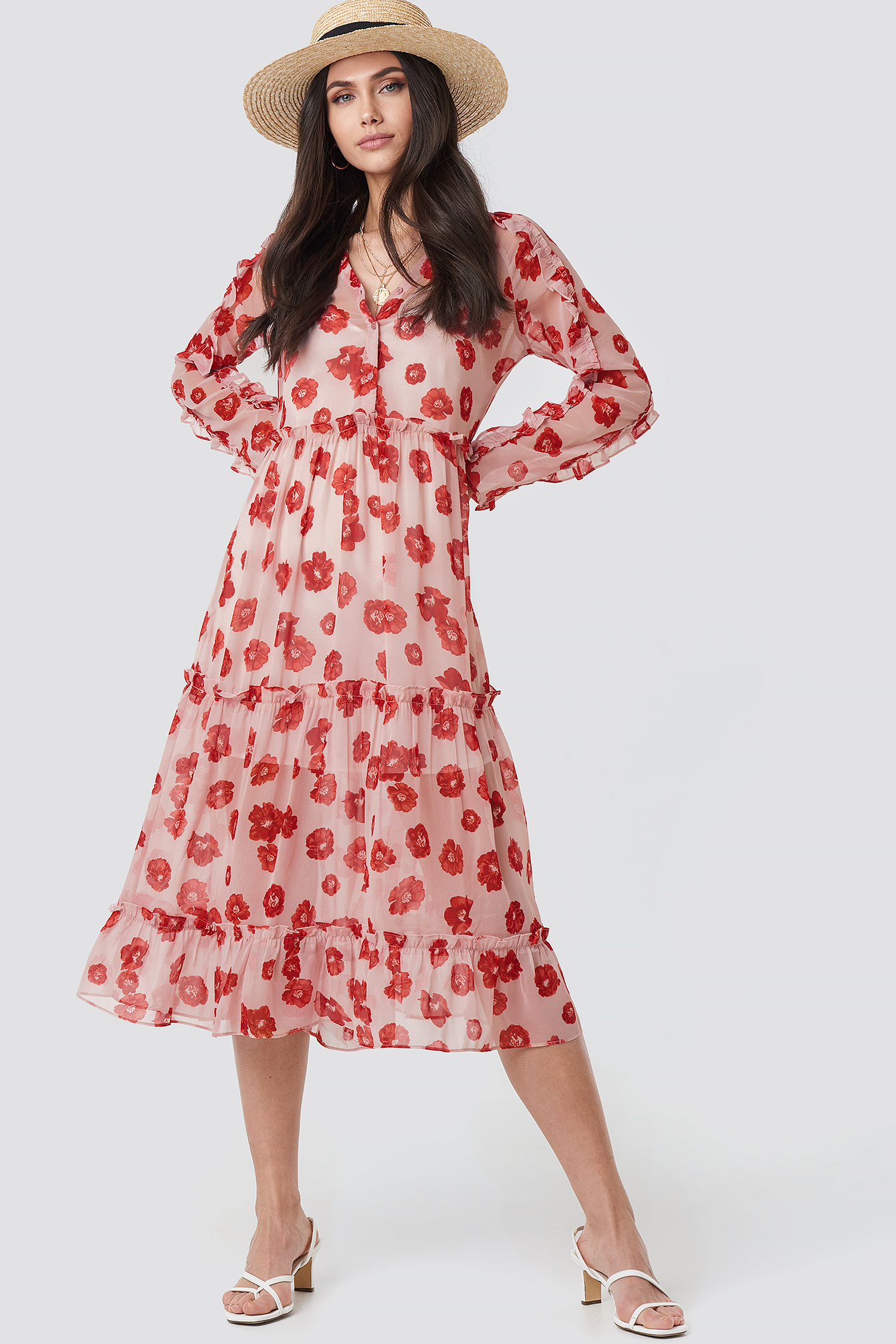 Printed Flounce Chiffon Dress NA-KD.COM
