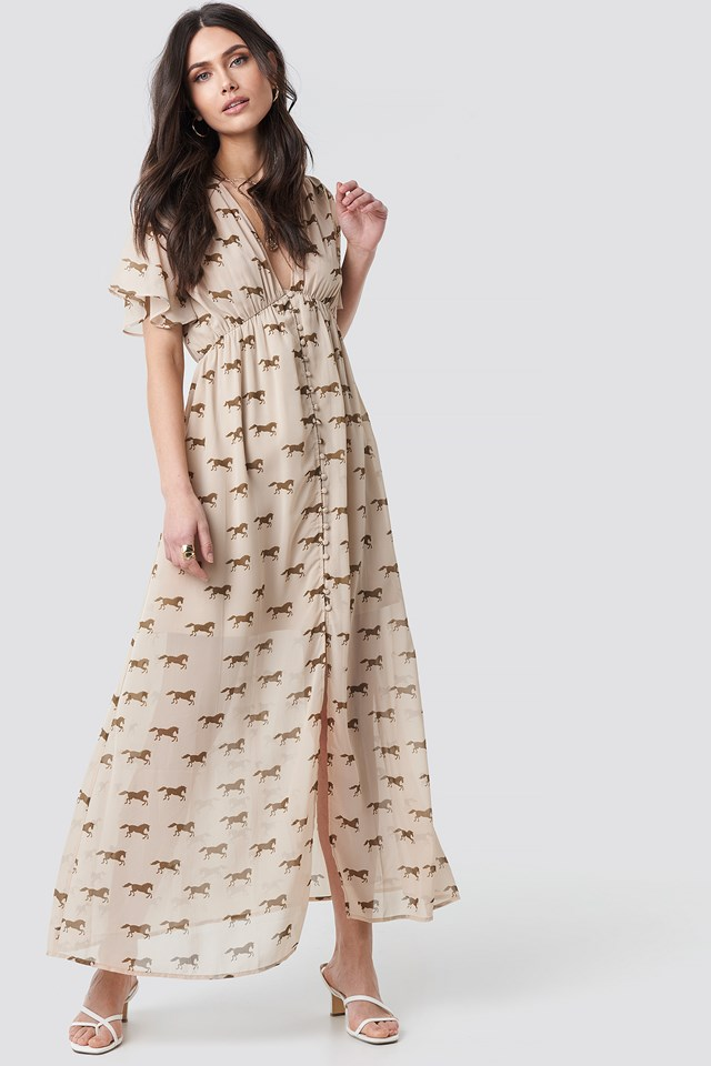 Front Button Maxi Dress Brown