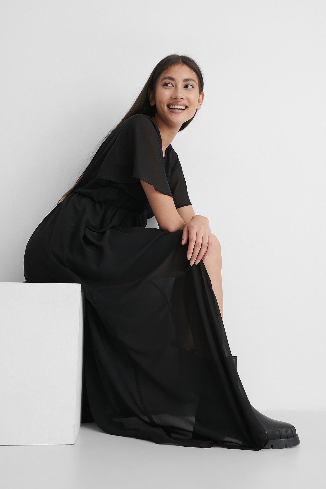 na-kd trend -  Hemdkleid Mit Knöpfen Vorne - Black