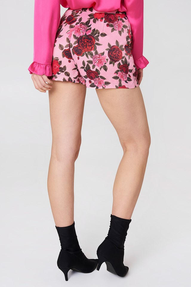 Printed High Waist Shorts Pink Floral