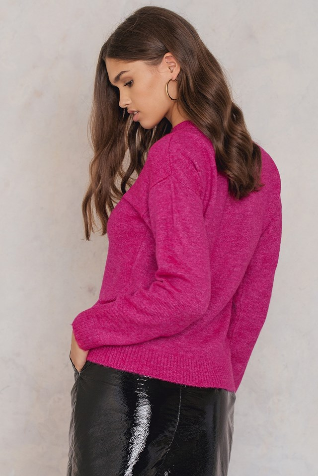 Printed Knitted Sweater Pink