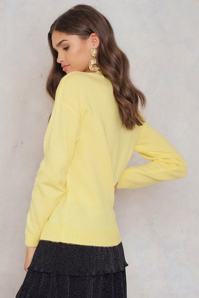 Printed Knitted Sweater Yellow