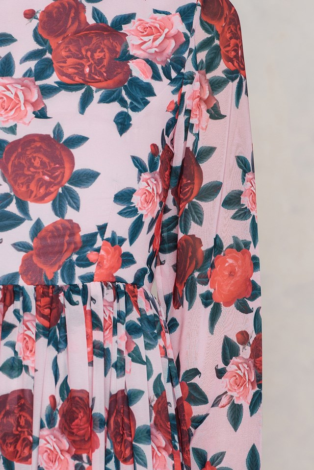 Printed Maxi Dress Red Flower
