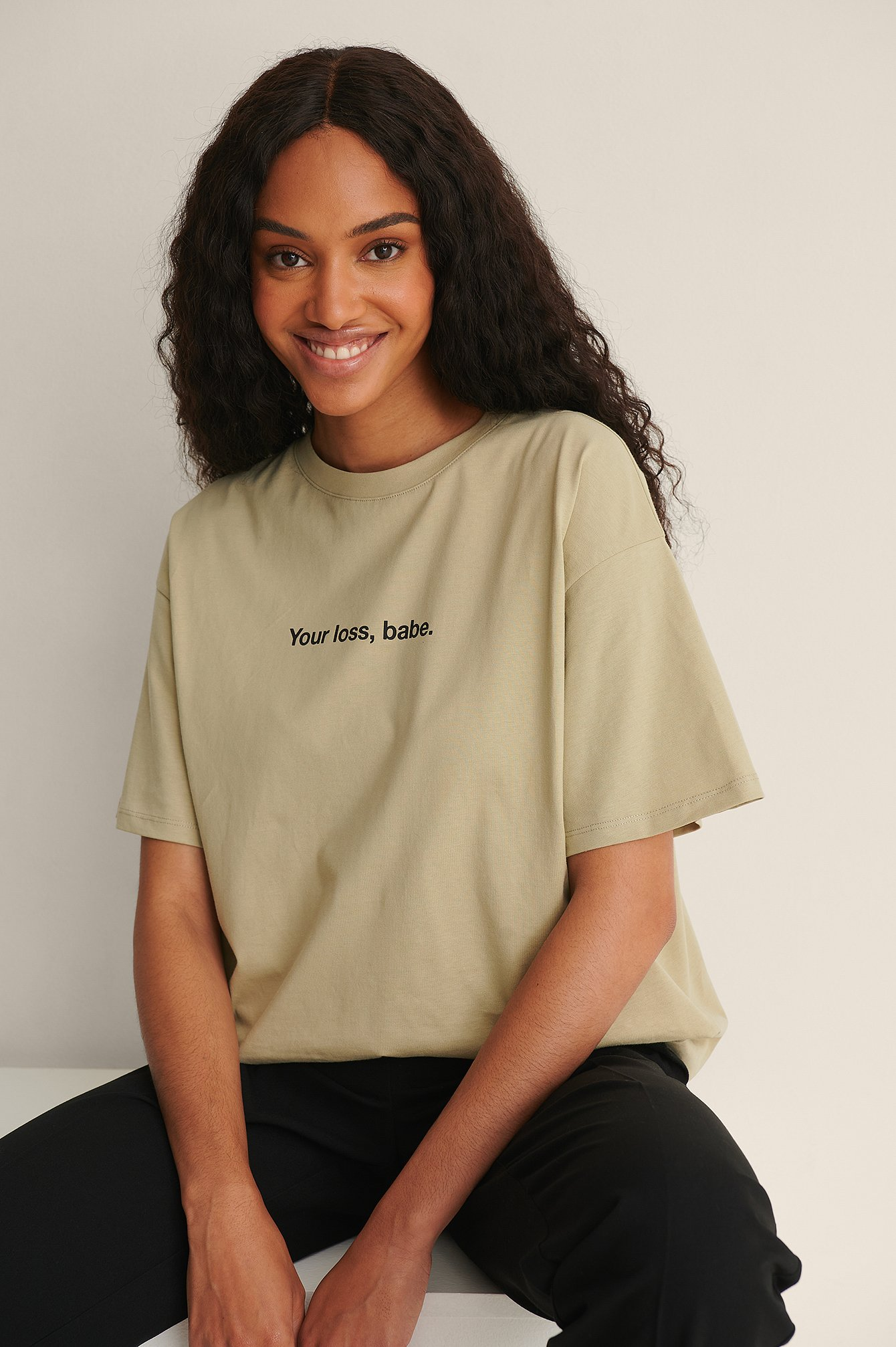 NA-KD Trend Økologisk Økologisk T-shirt Med Print - Green