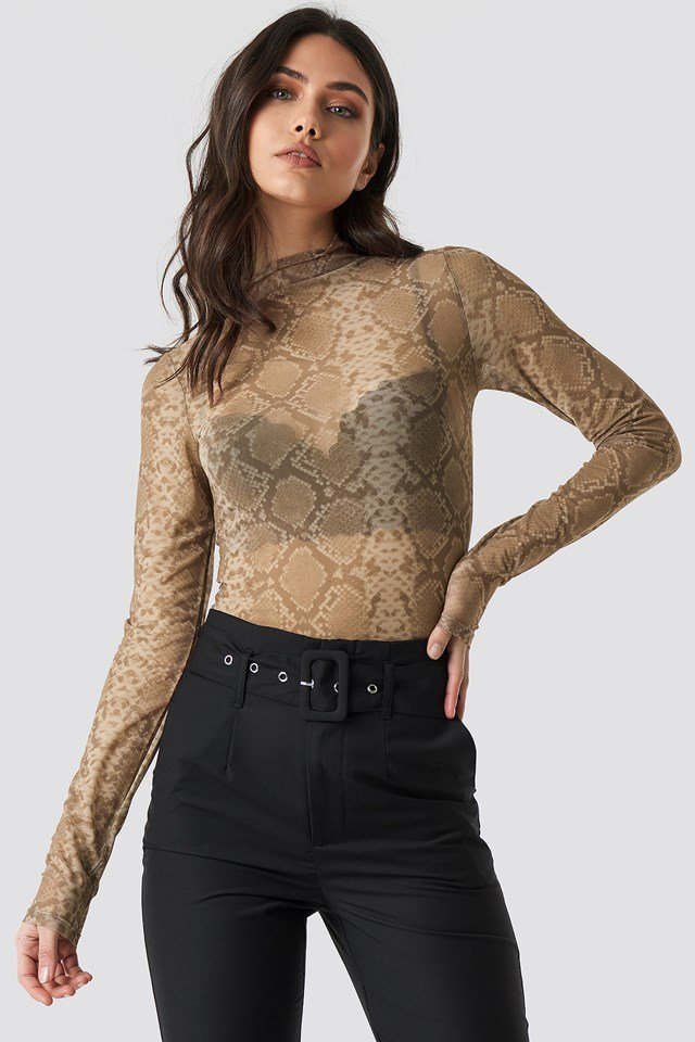 Printed Polo Neck Mesh Top NA-KD Trend