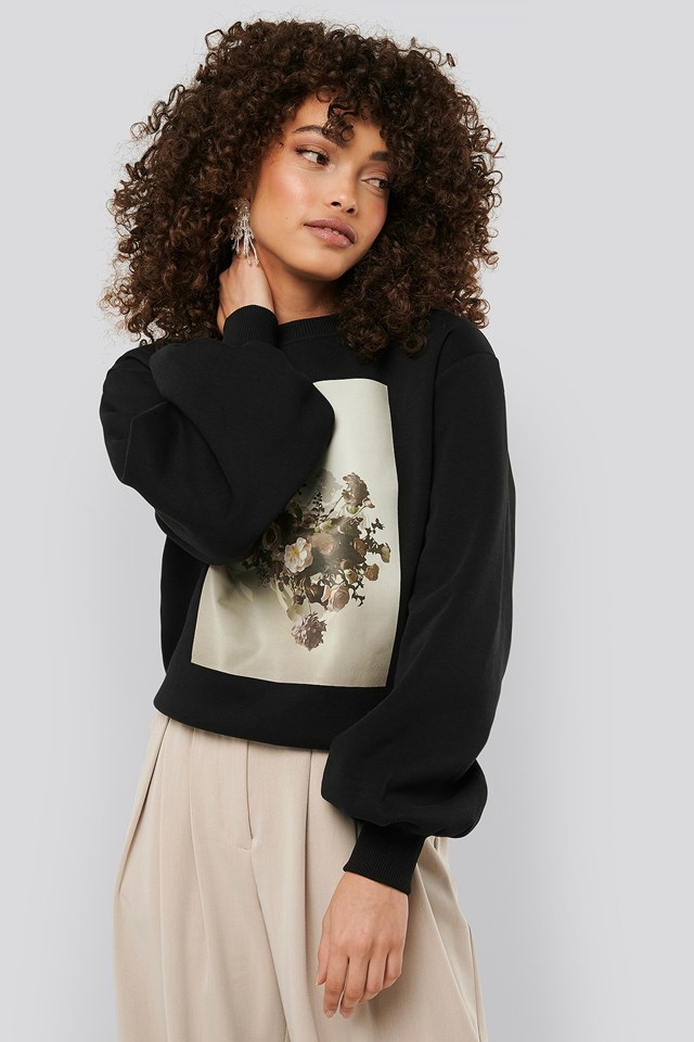 Printed Puff Sleeve Sweater Black