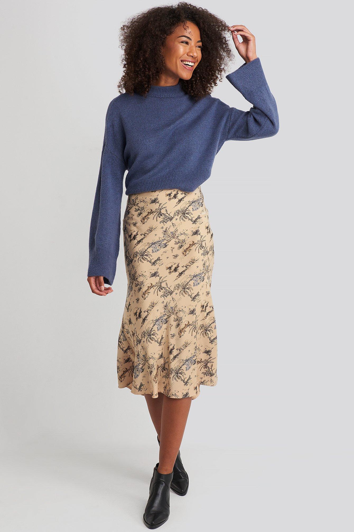 na-kd trend -  Satin Skirt - Beige