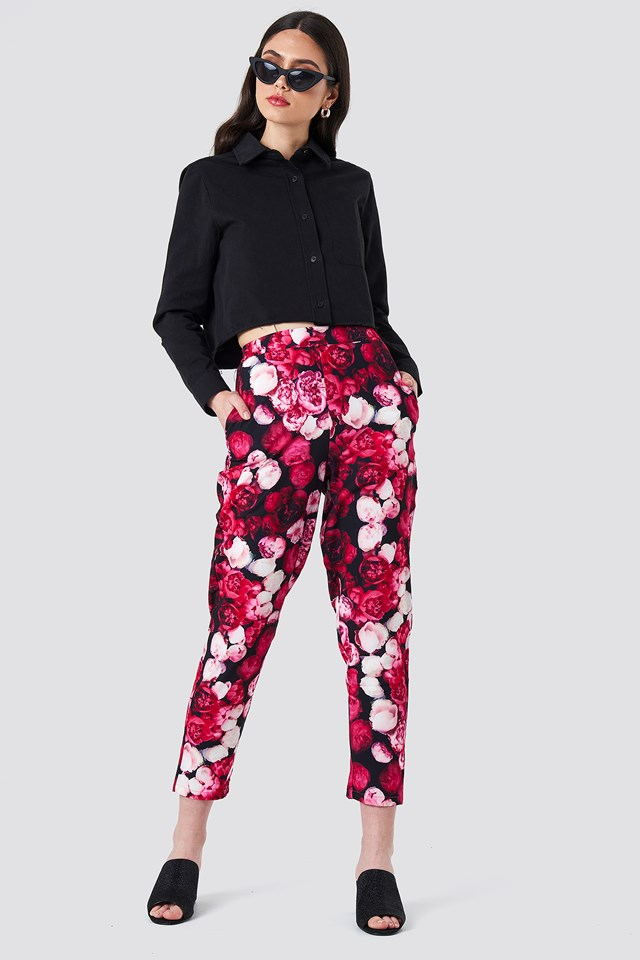 Printed Straight Pants Pink Flower