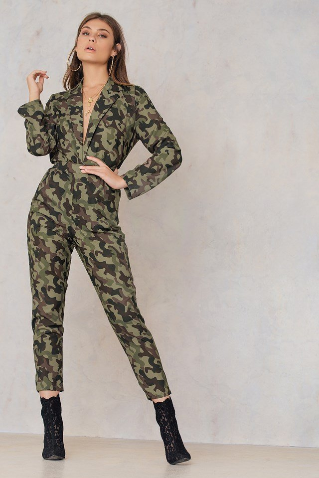 Printed Straight Pants Army