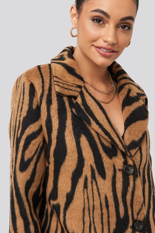 Printed Tiger Coat Animal Print