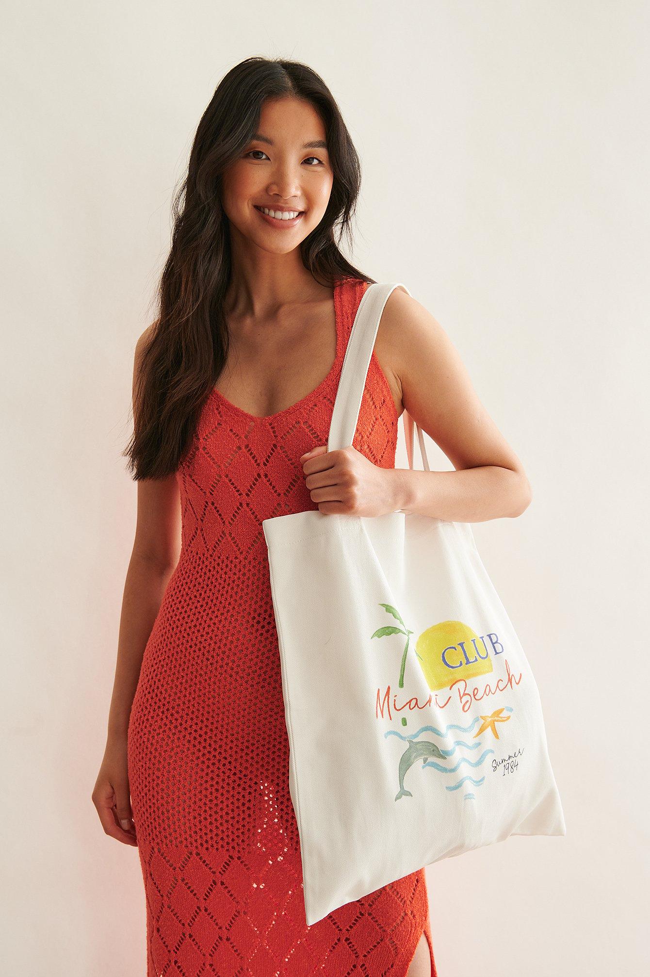 na-kd trend -  Organisch Stofftasche Mit Aufdruck - Offwhite