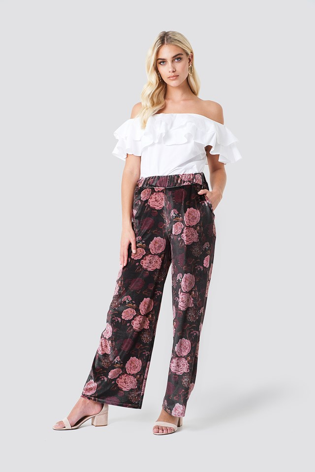 Printed Velvet Flared Pants Print