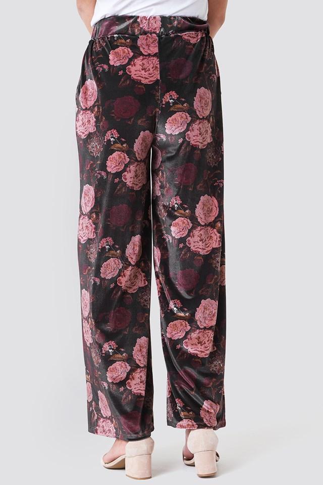 Printed Velvet Flared Pants Print