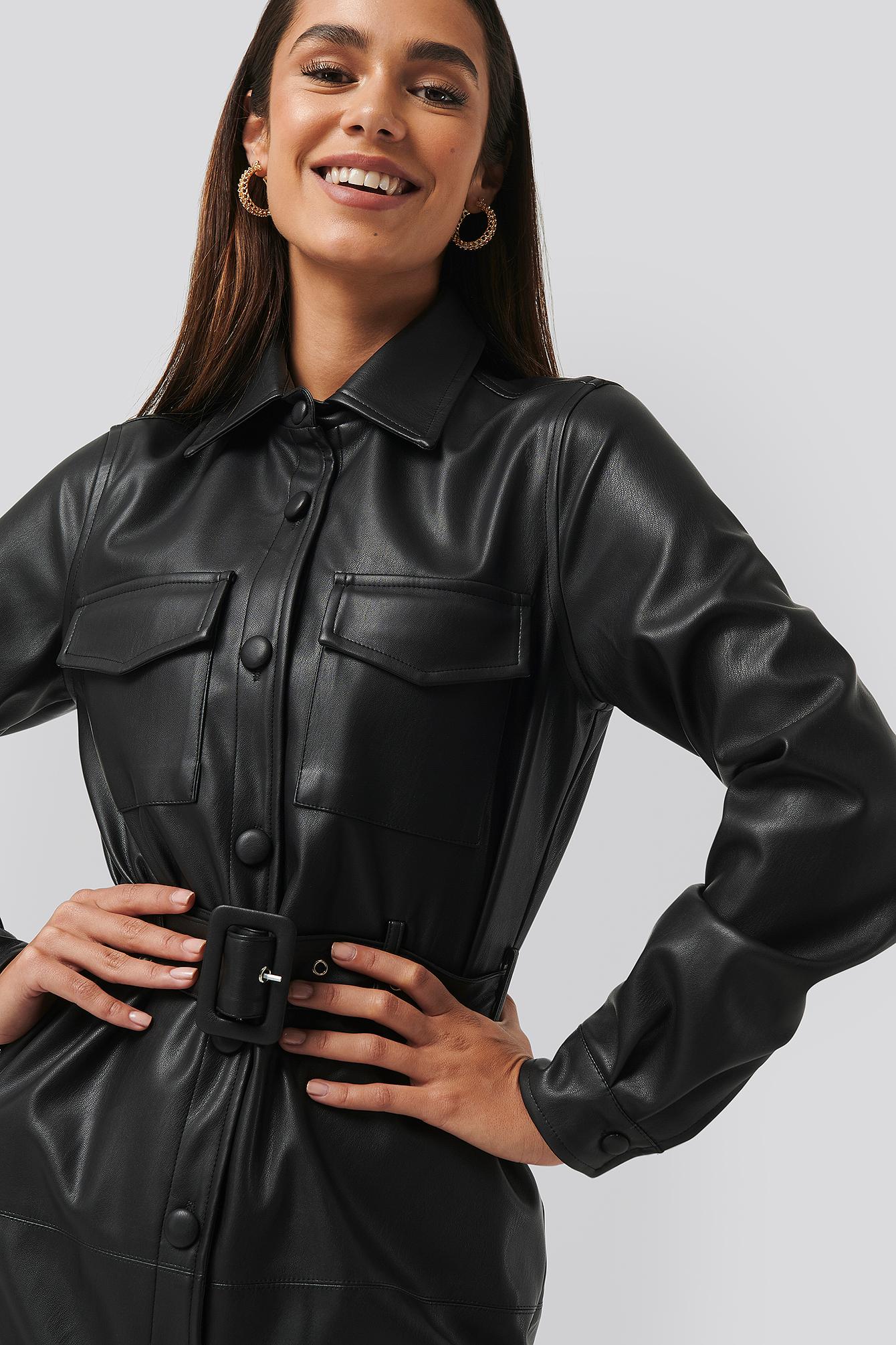na-kd trend -  Soft PU Belted Mini Dress - Black