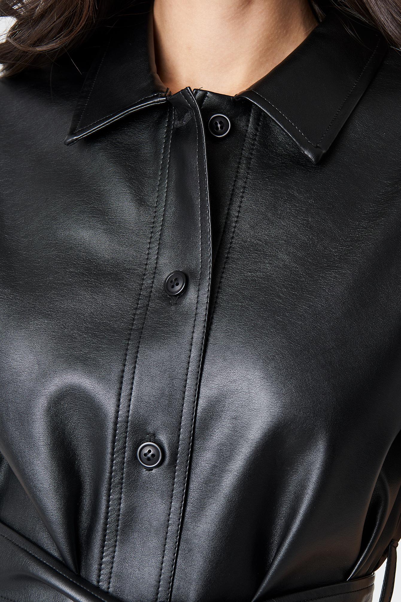 PU Belted Shirt Dress NA-KD.COM
