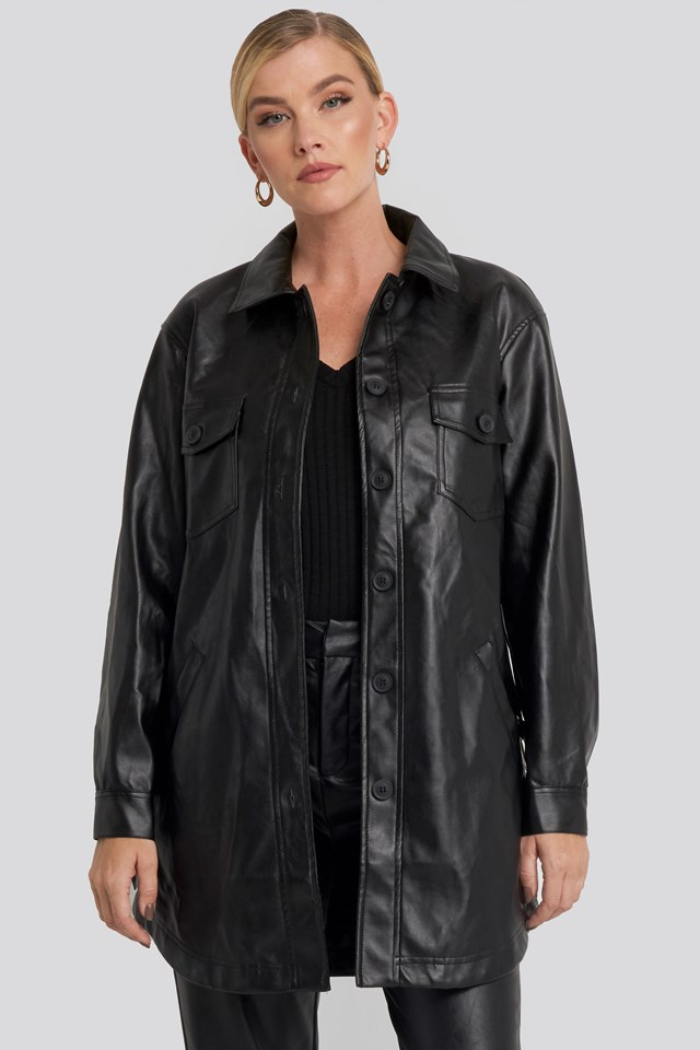 Pu Belted Shirt Jacket Black