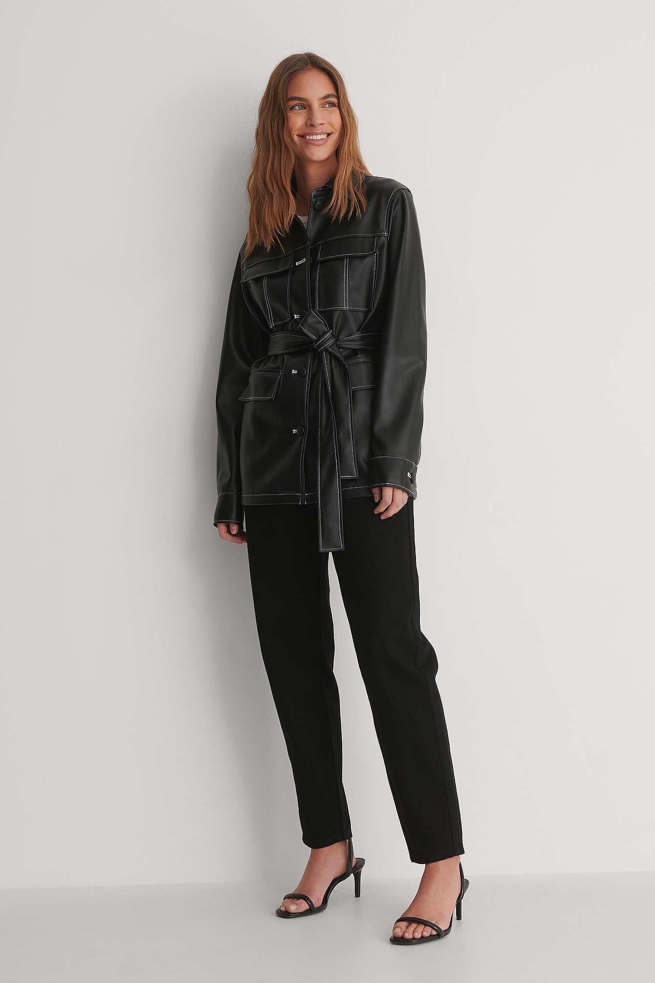 Black PU Belted Shirt Jacket