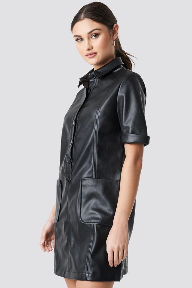 PU Button Up Mini Dress Black