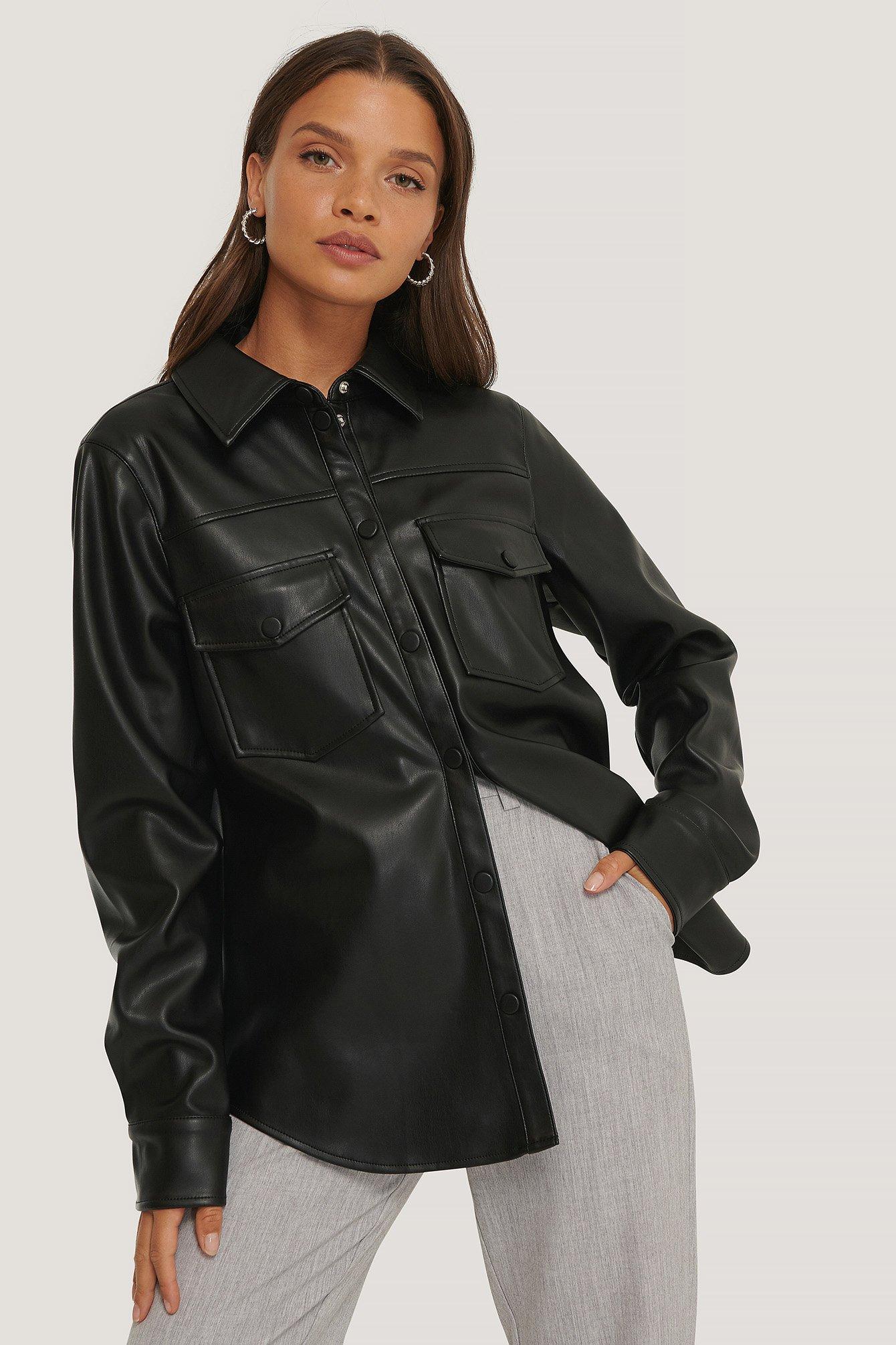 na-kd trend -  Pu-Oberteil Mit Doppelten Taschen - Black