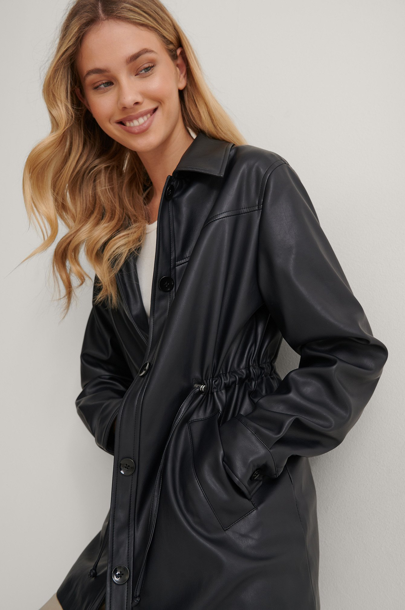 Black PU Drawstring Short Jacket